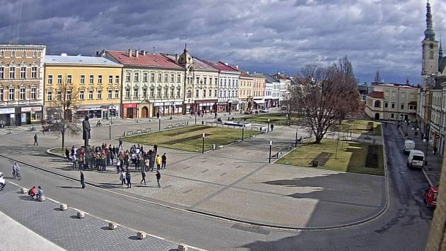Pohledy z webkamery na radniční věži v Prostějově - náměstí TGM