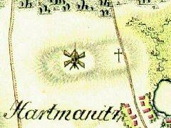 Větrný mlýn u dnešní Nivy na mapě I. vojenského mapování.