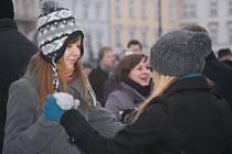 Protestní ples před radnicí v Prostějově