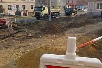 Rekonstrukce Plumlovské ulice v Prostějově - lokalita křižovatky s Jungmannovou ulicí - 3. dubna 2019