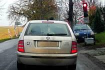 Semafor kvůli frézovaní vozovky u Výšovic