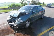 Nehoda na 16. kilometru z Vyškova do Prostějova