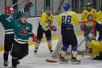 1. semifinále: HC Slavoj Český Krumlov (zelené dresy) - TJ Loko Veselí nad Lužnicí 6:5 po náj. (4:2, 1:2, 0:1 - 0:0).