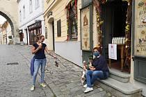 Členové českokrumlovského Sdružení cestovního ruchu rozdávali po městě dezinfekce.