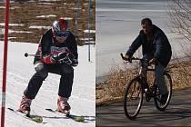 Na snímku vlevo závodník na trati obřího slalomu, který se v sobotu v lipenském skiareálu jel v rámci závodu Lipenská stopa, vpravo cyklista na Jezerní stezce mezi Lipnem a Frymburkem.