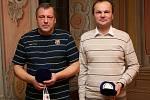 Trenéři starších dorostenců českokrumlovského fotbalového Slavoje Jiří Černý (vlevo) s Jiřím Svobodou.