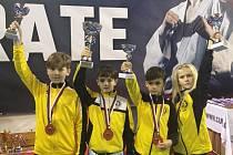 Mistrovství České republiky 2018 v karate v Jindřichově Hradci (závodníci Karate Panthers Český Krumlov ve žlutém).
