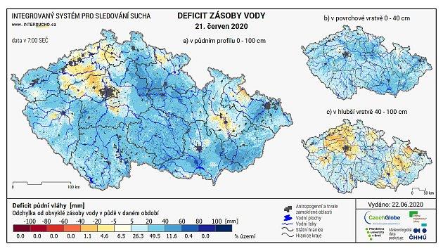 Deficit zásoby vody vpůdním profilu 0 - 100cm k21. červnu ukazuje, že půda je nadprůměrně nasycená vodou vcelých jižních Čechách.