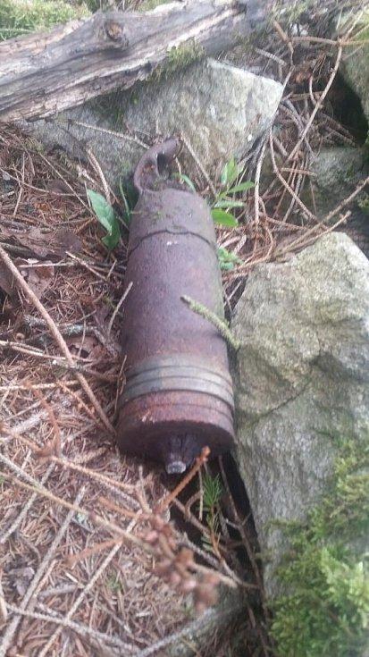 Dělostřelecký granát US army nalezený na Lipensku.