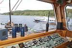 Rozbitím láhve sektu o stěnu kajuty pokřtili v sobotu v lipenském přístavišti zástupci místní dopravní společnosti novou loď Adalbert Stifter. Na snímku pohled z řídicí kajuty.
