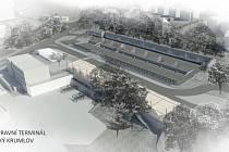 Staré autobusové nádraží Český Krumlov se promění v moderní dopravní terminál, jak je vidět na vizualizaci projektu. Zdroj: Městský úřad Český Krumlov