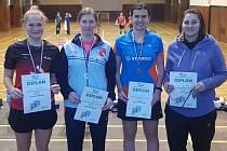 Medailisté v oblastním přeboru dospělých 2019 - dvouhra ženy (zprava Černá, Matoušková, Weberová a Kudláčková).