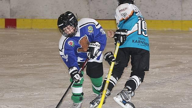 V posledním kole medvíďata rozstřílela na domácím ledě rakouský Linec 7:2 a hattrickem se v utkání blýskl Radek Hajsák (vlevo v souboji s rakouským obráncem).