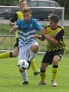 I.B třída (skupina A) – 26. kolo: Vltavan Loučovice (modrobílé dresy) – Spartak Kaplice 5:5 (1:3).