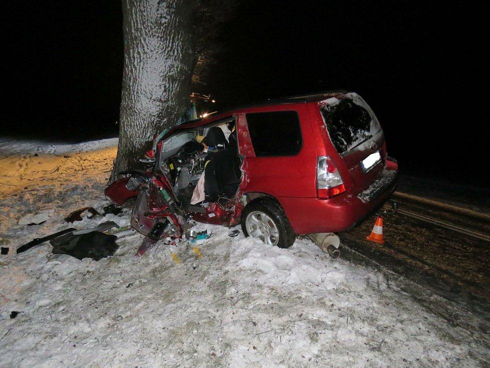 Při nárazu do stromu na E55 zemřel řidič (r. 1951).