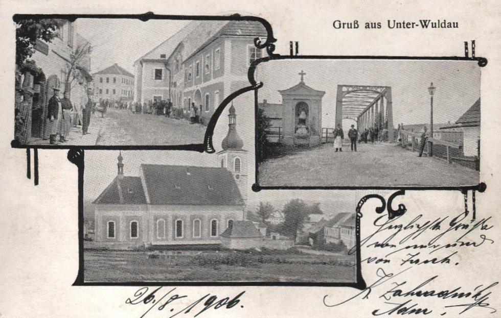 Dolní Vltavice (Unter-Wuldau) na pohlednici z roku 1906.