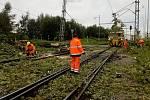 Železniční přejezd ve Velešíně je kvůli popadaným stromům a větvím uzavřen. Pracuje se na jeho zprůjezdnění.