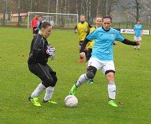 Divize ženy (skupina D) – 8. kolo: FK Spartak Kaplice (modré dresy) – TJ Slovan J. Hradec 4:2