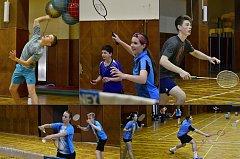 Krumlovské mládí na krajském turnaji mladších juniorů U17 v českobudějovické sokolovně (na koláži vlevo dole vítězka singlu Barbora Kortusová).