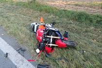 Motocyklista havaroval u Mirkovic.