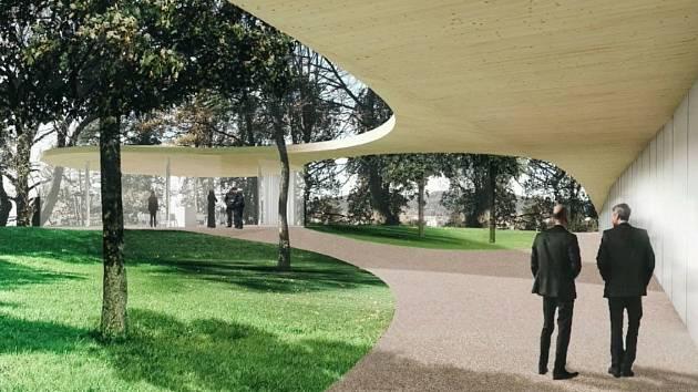 Vizualizace nové smuteční síně na pahorku v parku u hřbitova.