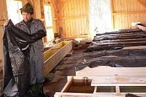Martin Vosika po umělém výtěru pstruhů rozestřel tisíce jiker v kolíbkách v líhni, pečuje o ně a kontroluje je několikrát denně. V závislosti na teplotě se pak plůdek vykulí.
