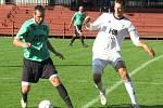 OP muži – 6. kolo (5. hrané): FK Spartak Kaplice B (zelené dresy) – FK Dynamo Vyšší Brod 11:2 (4:0). Foto: Libor Granec