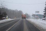 Dopolední stav silnic v Kaplici a jejím okolí v sobotu.