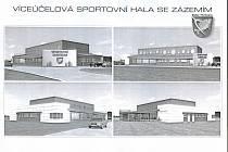 Jedna z verzí návrhu víceúčelové haly pro Dolní Třebonín.