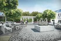 Současný stav náměstíčka a vizualizace jeho nové podoby po rekonstrukci.