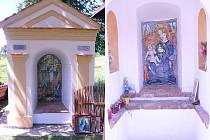 Výtvarník Mirek Raboch nově obnovil kapličky v Dluhošti (vlevo) i v Benešově nad Černou.