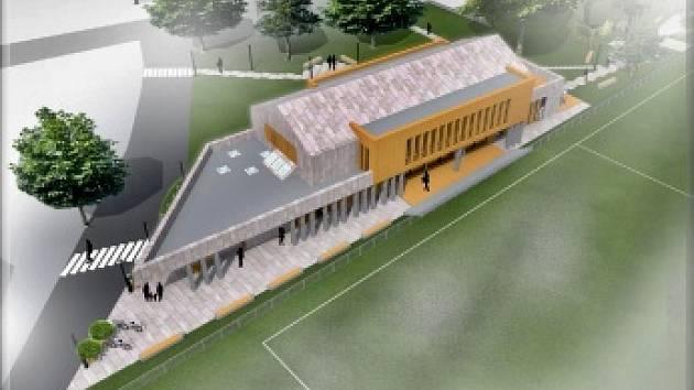 Návrh, jak by mohlo vypadat nové sportovně kulturní zařízení v Černé v Pošumaví.