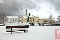 Klášter Vyšší Brod v zimě.
