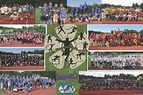 Krumlovský ŠNOMÍBO desetiboj neregistrovaných atletů si letos zapíše do kronik patnáctý ročník (na snímku koláž z prvních deseti let konání mítinku).