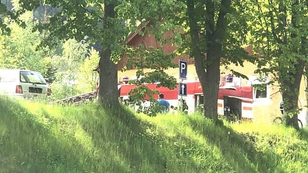 Hasiči ve Větřní likvidovali požár travního porostu a přístřešku.