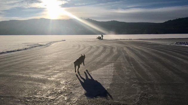 Měření síly ledu u Frymburku