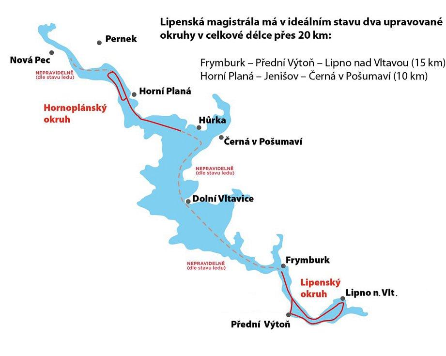 Součástí ledové magistrály (mapa ČEZ, a. s.) je několik okruhů.