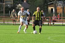 Okresní soutěž muži – 3. kolo: FK Spartak Kaplice B (bíločerné dresy) – SK Holubov 8:1 (3:0).