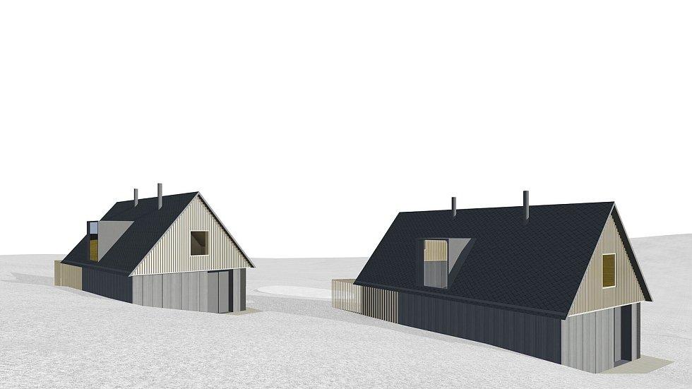 Vizualizace Českého soběstačného domu, který vyrostl u Kyselova na Vyšebrodsku, asi 400 metrů od lipenského skiareálu.