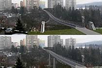 Studie projektů, které měly oživit cestovní ruch v Českém Krumlově nebo zpříjemnit život místním obyvatelům, zůstávají prozatím jen na papíře. Na snímku most spojující sídliště Mír a Za Nádražím.