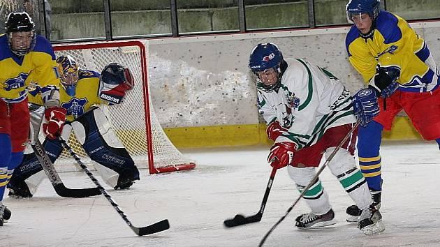 Hokejové utkání krajského přeboru juniorů / HC Slavoj Český Krumlov - HC DDM České Budějovice 4:3.