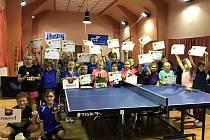 Krajský bodovací turnaj nejmladšího žactva ve stolním tenise ve Velešíně.
