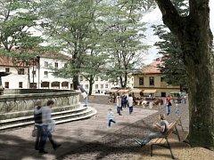 Jeden z návrhů na úpravu prostranství kolem hlavní kašny v parku na náměstí v Horní Plané.