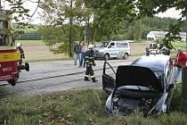 Nehoda na třísovské železničním přejezdu se naštěstí obešla bez zranění.