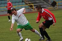 Fotbalové utkání krajského přeboru mužů / FK Tatran Prachatice - FK Slavoj Český Krumlov 2:1 (1:0).