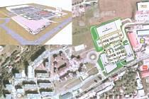 Pozemky jsou rozděleny do dvou částí. První, blíže k hlavní silnici, má rozlohu zhruba 28,4 tisíce metrů čtverečních. V zadní části o rozloze 10,4 tisíce metrů. Mapa ukazuje, jak velké území chtějí investoři pojednat.