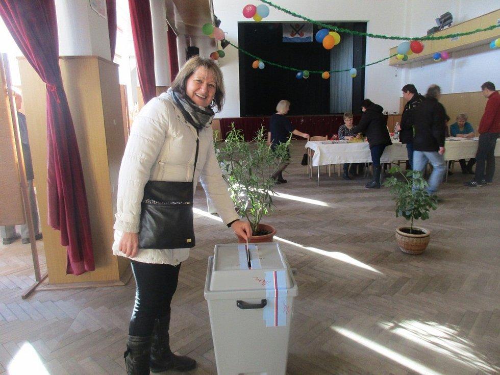 Druhé kolo prezidentských voleb v Loučovicích v kulturním domě, kde naproti sobě sedí dvě volební komise.