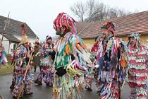 Masopustní průvod v Chlumci se v sobotu tradičně zastavil na vydatném občerstvení u Šestáků v Krníně.