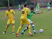 Ondrášovka KP muži – 4. kolo: FK Slavoj Český Krumlov (zelené dresy) – TJ Sokol Želeč 1:1 (1:1).