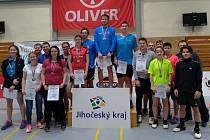 Medailisté z jihočeského oblastního přeboru dospělých v badmintonu.